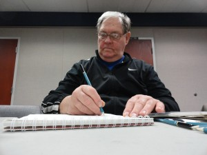 Rick fills his sketchpad during our Basic Drawing class.