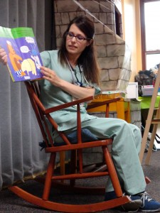Nurse Amanda joined us during a special story time celebrating local heroes and helped during our Stuffed Animal Clinic, as well.