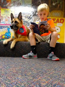 Diva listens as Braden reads to her about the president.