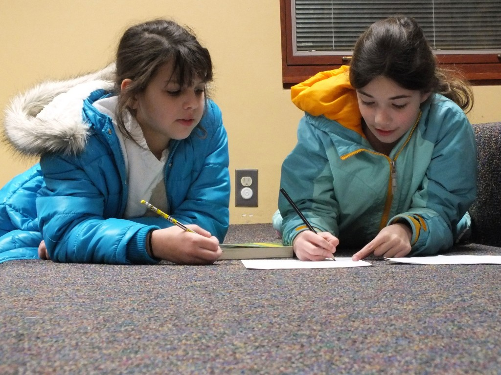 Silvanna and Abby draw their own comics during our Comics Club meeting at Mentor Public Library.