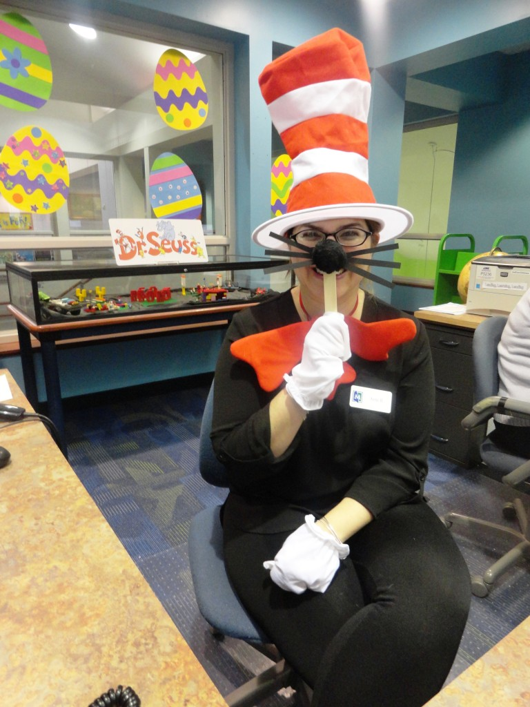 Ms. Amy got into the spirit by dressing as the Cat in the Hat.
