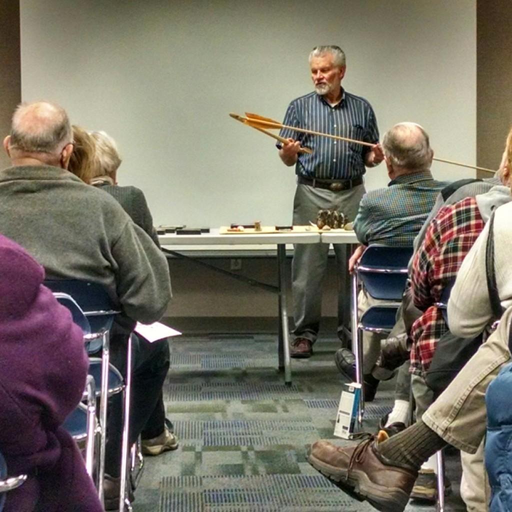 Bill Urbanski demonstrates how an atlatl works at Mentor Public Library.