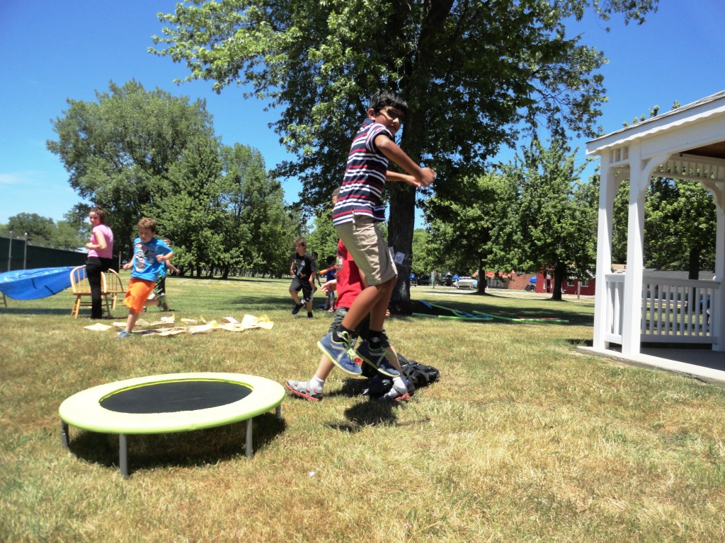 Santosh Akilesh launches himself from the trampoline at the end of our obstacle course.