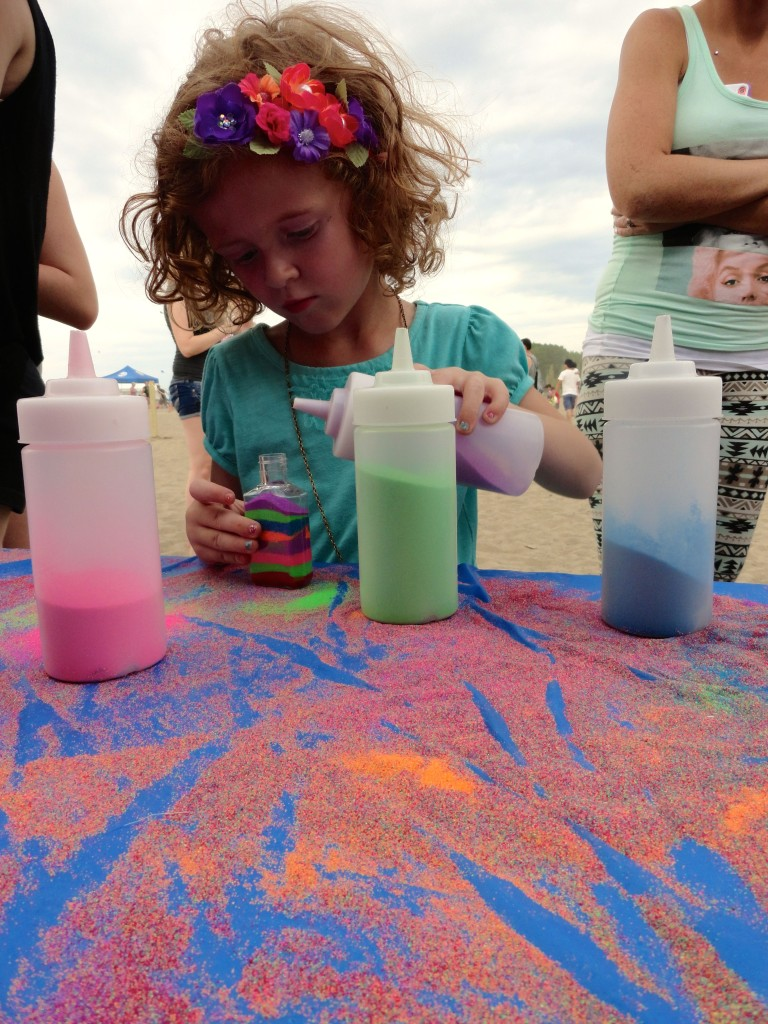 Kids can join us to make sand art.