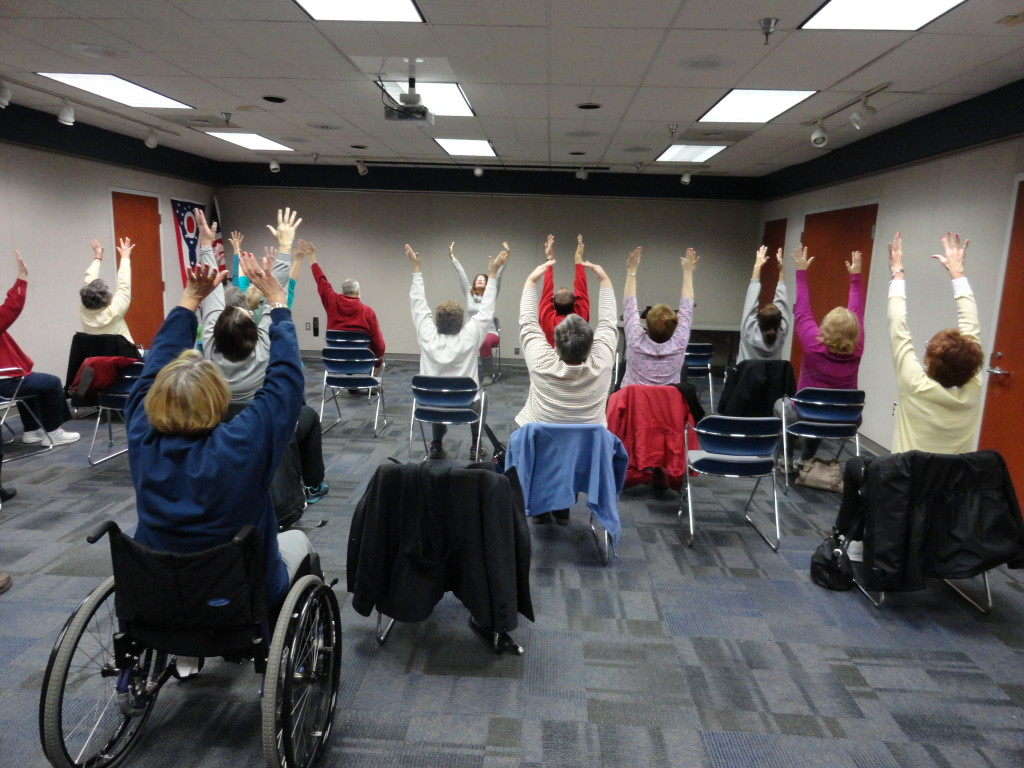 Enjoy a free session of chair yoga every Monday morning this month at Mentor Public Library's Main Branch.