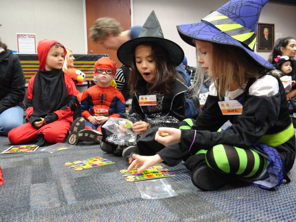 Aven and Leah are so close to winning Halloween Bingo.