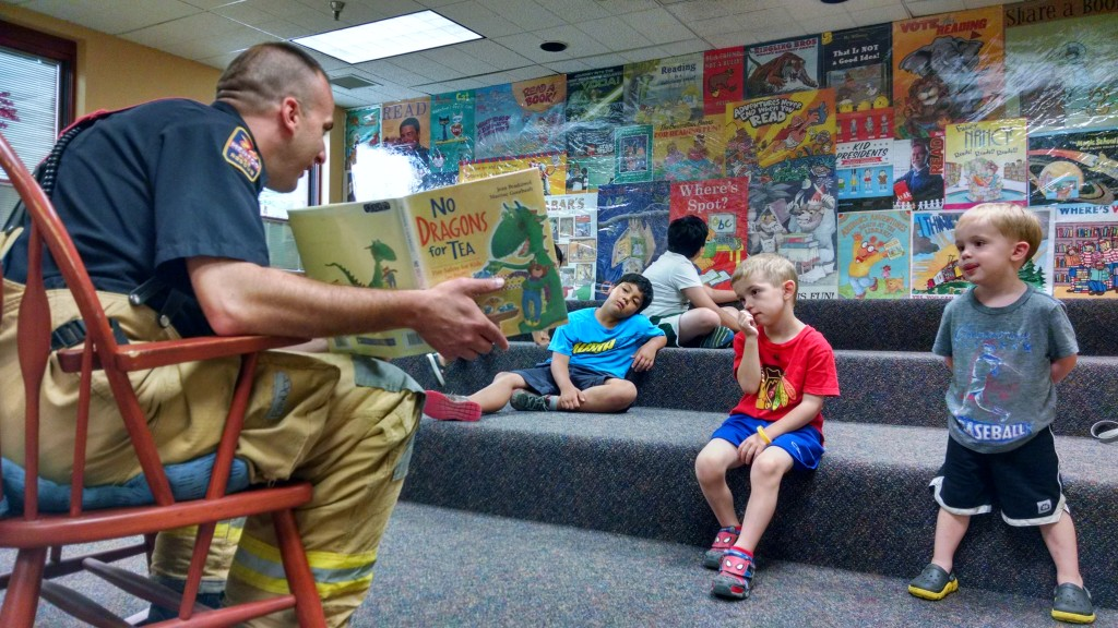 Sometimes we have guests like when Firefighter Nathan Peters joined us for story time.