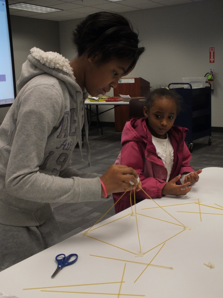 Ameri and Aniyah learn quickly that the strongest shape was a triangle.