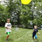 Avery and Gabriel play a game of balloon tennis.