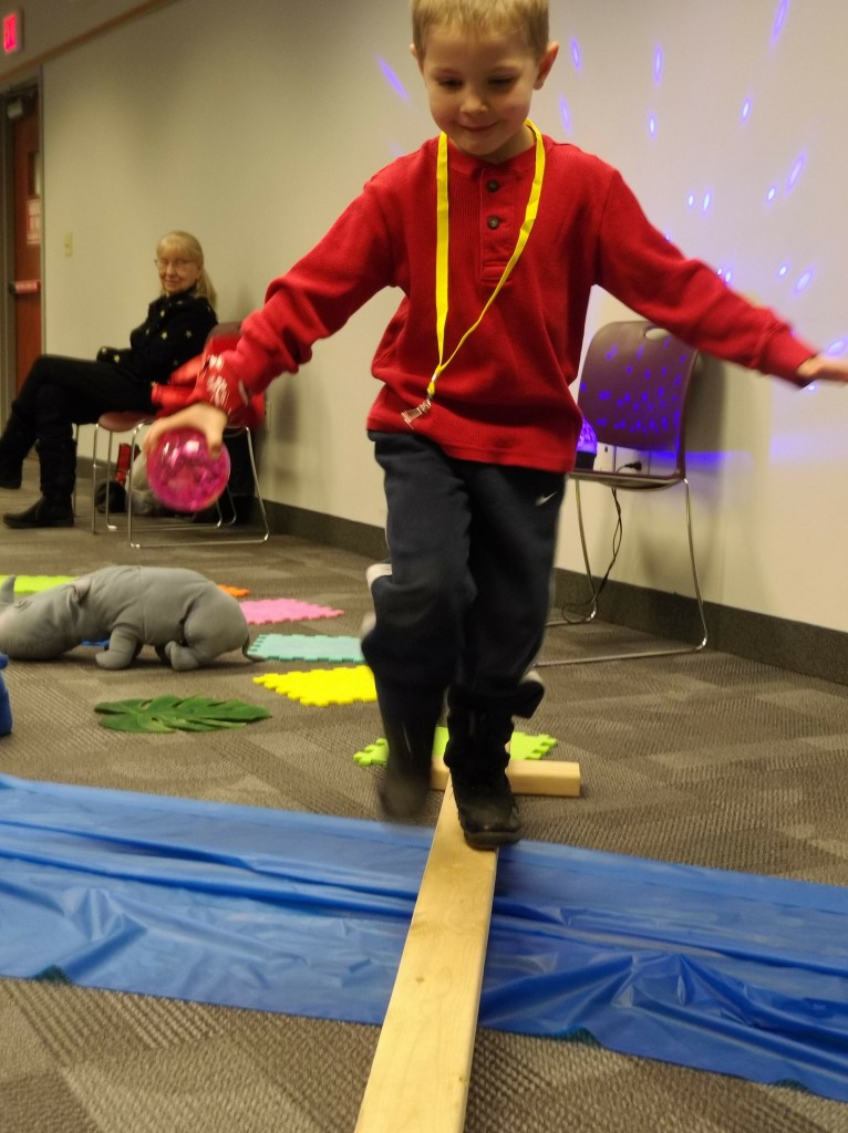 Jackson tries to keep his balance during our obstacle course.