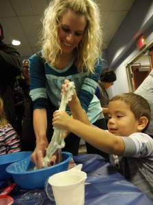 Kids make slime that they can take home after the party.