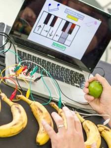 Transform bananas into a keyboard with Makey Makey at the library.