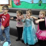 Dancing like Frankenstein's monster during story time