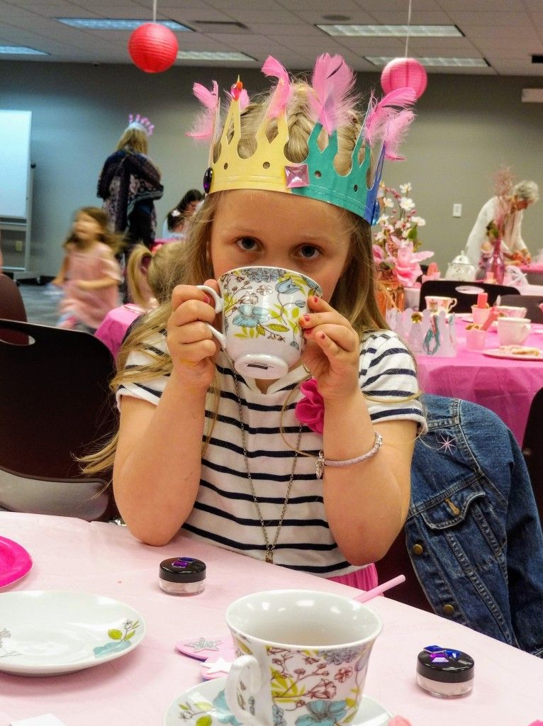 Maddie takes a sip from her cup during our Pinkalicious Tea Party.