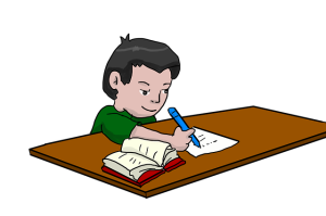 Boy with a book and pen and paper doing homework.