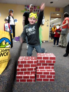 Rileigh practices leaping a building in a single bound.