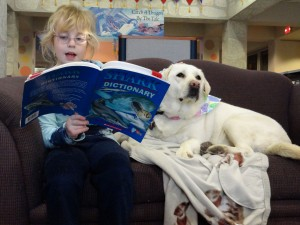 Theresa Santilli keeps one hand free to pet Haylee while she reads.