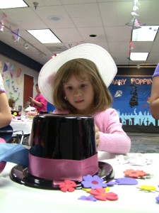 Kids could make their own Mary Poppins hats, but Keeley already brought a pretty sharp hat of her own.