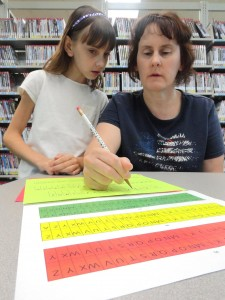 Peyton and her mom, Theresa, sort out some Poe codes during our cryptography program at Headlands.