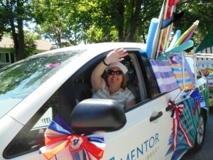 Driver/Navigator prepares for the parade route.