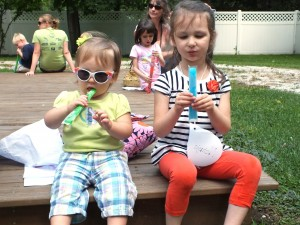 Saige and Natasja relax with a pair of freeze pops