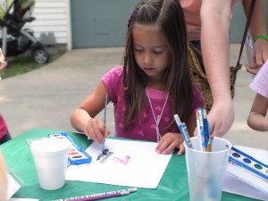 Water's good for science AND art. Sarah paints with watercolors.