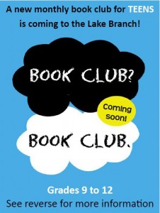 Our Teen Book Club's first meeting will be Saturday, Aug. 9, at our Mentor-on-the-Lake Branch.