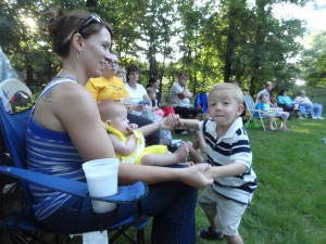 Zackary Posen dances with his sister, Victoria, and mom, Katherine.