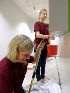 Mother-daughter team of Ina and Daiva give our upstairs corridor a fix-up.