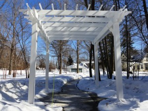 These pergolas will look even cooler when the surrounding terrain isn't covered in snow and salt.