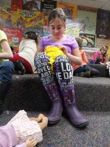 Sophie makes a fleece pillow during our American Girl Book Club where we met Caroline.