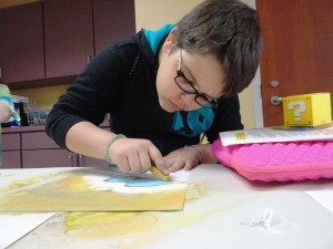 """Colin creates his own version of Edvard Munch's """"The Scream"""" during Studio MPL on Monday."""