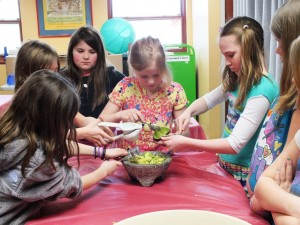 The young ladies of our American Girl Club made guacamole when they met Josefina Wednesday.