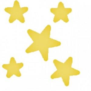 Five yellow cartoon stars