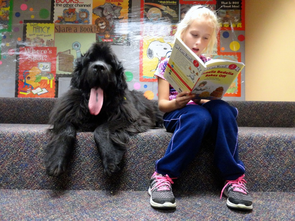 Addilyn and Norman share a good book during Paws to Read at Mentor Librart.