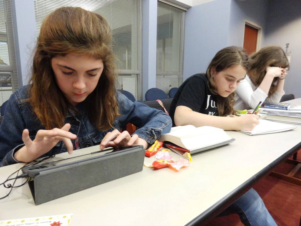 Teens write their own stories using different prompts or brainteasers when MPL's Write On club meets.