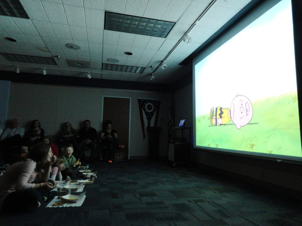 "The kids laugh along to a special screening of ""A Charlie Brown Thanksgiving"" at Mentor Public Library."