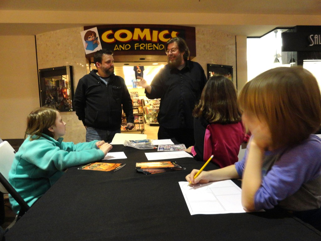Comic artists Dave Russell and Chris Lambert offer advice to the MPL Comics Club.