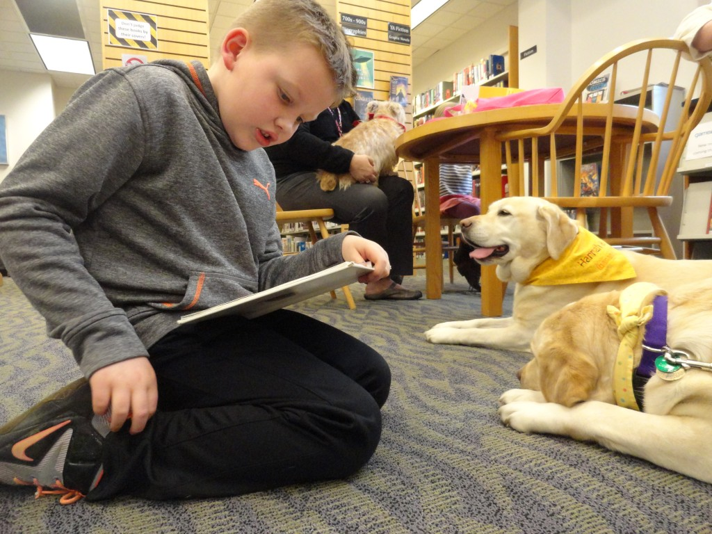 Jake gets double the pups, reading to Hannah and Honey.