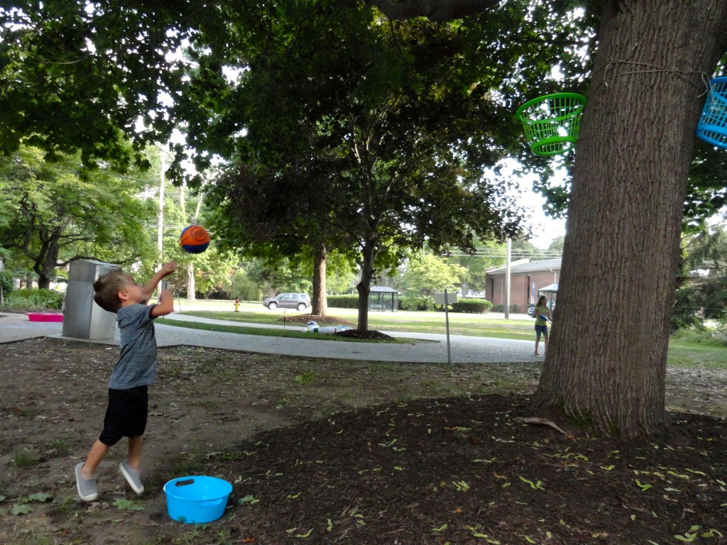 Jack shoots some hoops in the backyard of our Read House.