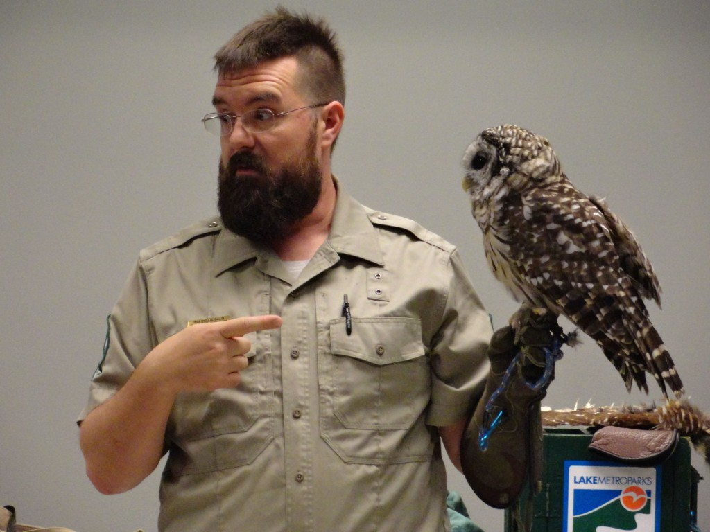Tim Cunningham from Lake Metroparks introduces us to Hemlock, a barred owl that lives in Penitentiary Glen.