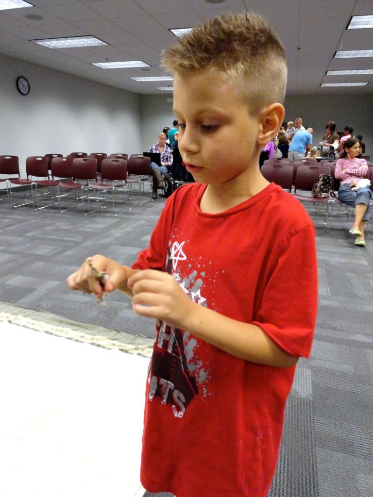 Avery checks out the talon of a screech owl.