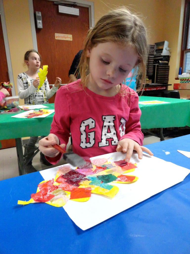 Maggie uses crepe paper to put all the colors of autumn into a single leaf.