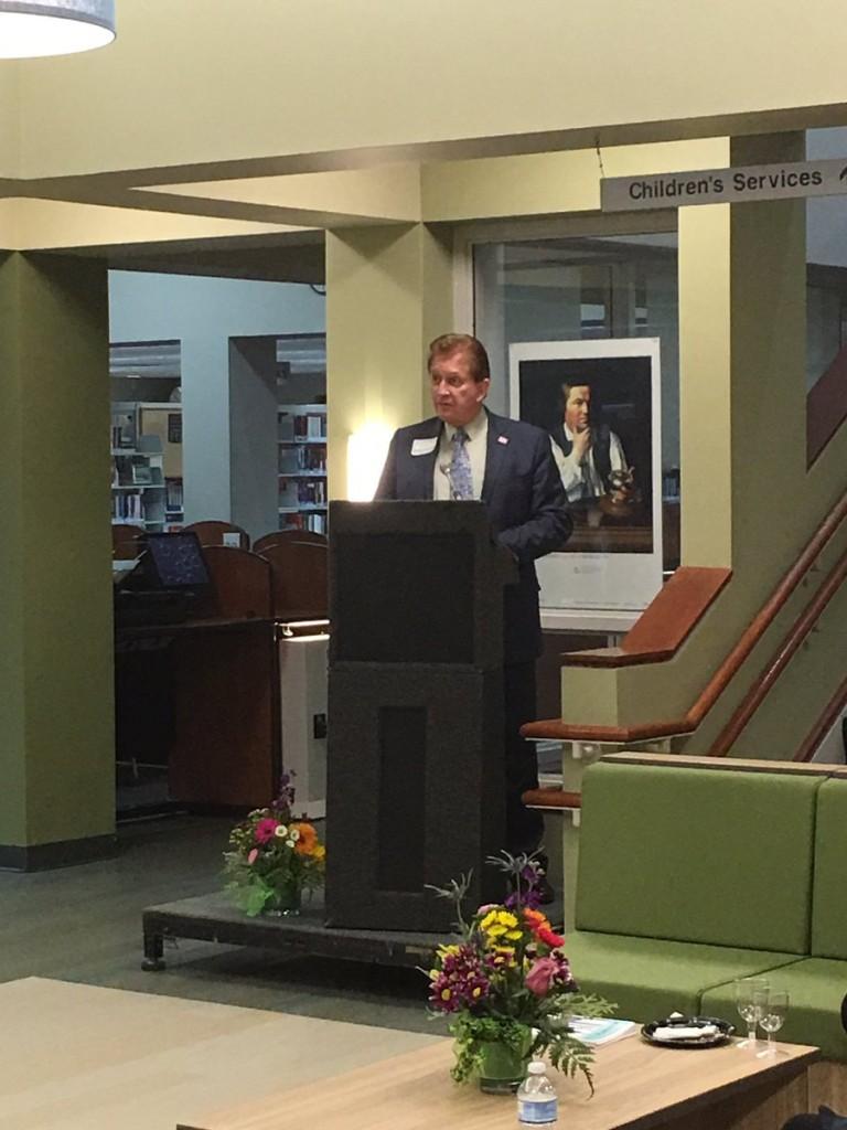 Terry Kilbourne speaks during the dedication of Kilbourne Commons.