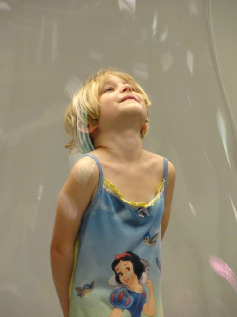 Evelyn sees what life looks like from inside of a bubble.