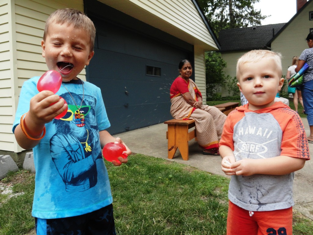 Liam and Luke get wild with the water balloons during Make-It Monday.
