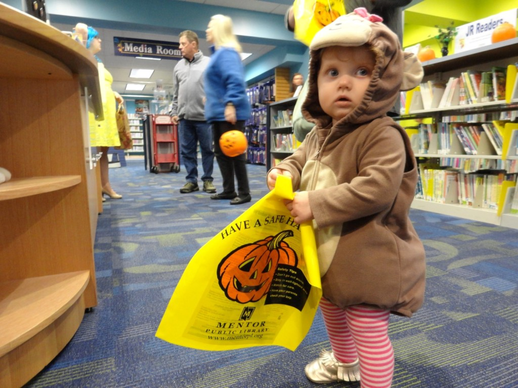 Story time is the real treat, but kids can get some candy too when they visit us on Halloween.