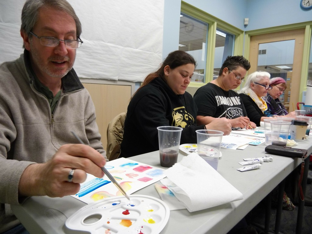 Both new and experienced painters learned some fun and useful techniques during the World of Watercolor program at Mentor Public Library's Lake Branch.