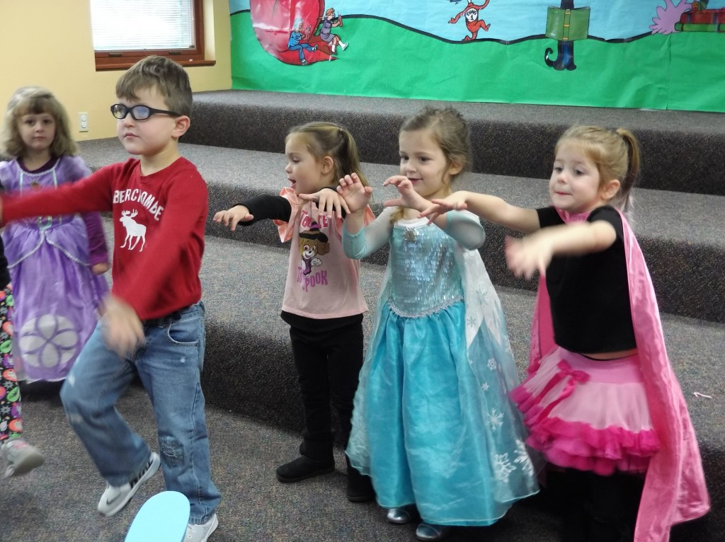 Dancing like Frankenstein's monster during story time