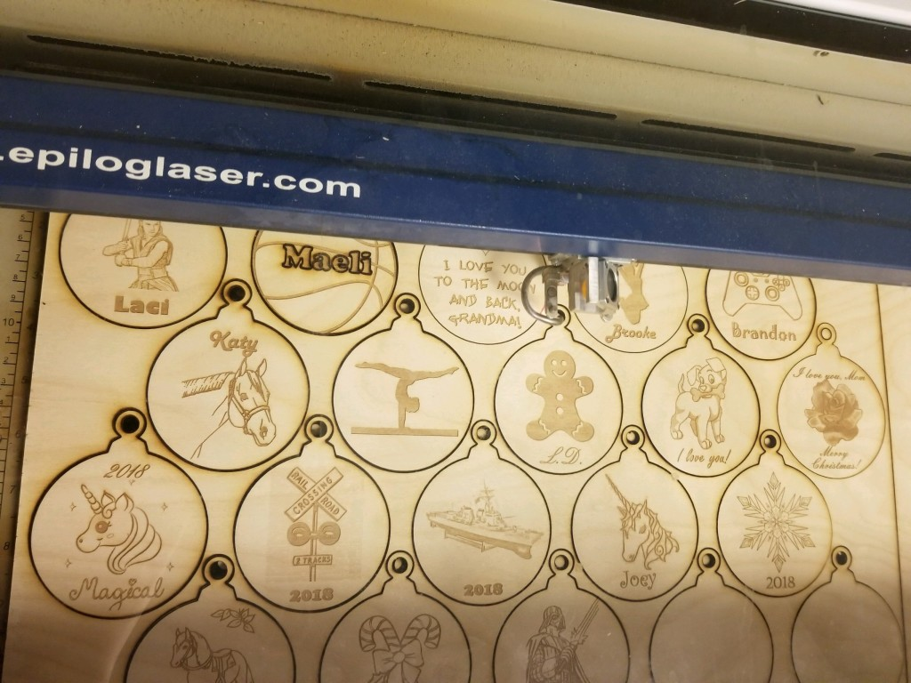 Kids could laser engrave ornaments that